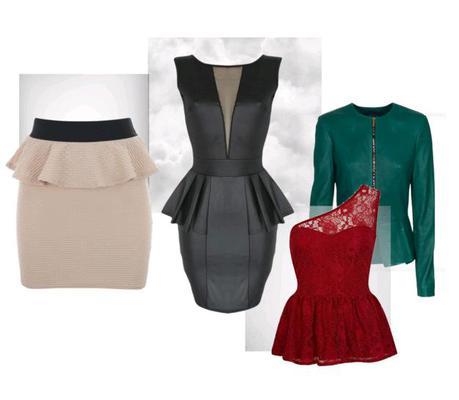Το peplum κομμάτι:  Αποτελεί την πιο καυτή μόδα της σεζόν! Το peplum είναι εδώ για να μείνει κι έχεις πολλές εναλλακτικές για να διαλέξεις: μια peplum φούστα, ένα top, ένα φόρεμα, ακόμα κι ένα τζάκετ.