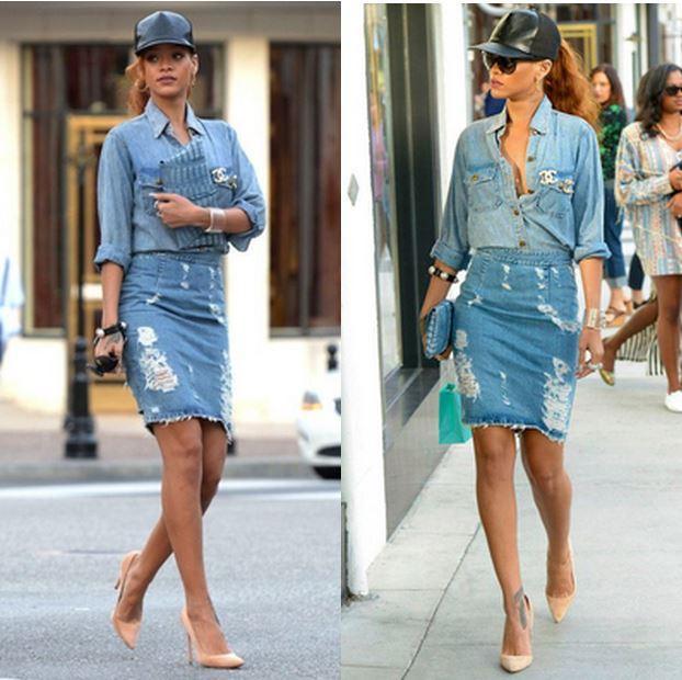 209e4c36c945 Τέλος, οι πιο τολμηρές μπορείτε να εμπνευστείτε από το total denim look της  Rihanna. Απλά θυμηθείτε να κρατήσετε όλα τα υπόλοιπα λιτά.