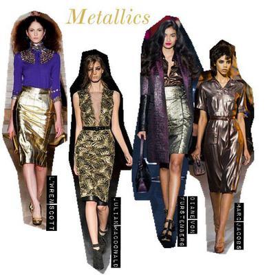Metallics  Ένα από τα πιο δημοφιλή trends είναι οι μεταλλικές αποχρώσεις σε υφάσματα και δέρμα. Αυτή τη φορά βλέπουμε και συνδυασμούς μεταλλικών χρωμάτων. Φέτος, θα βρεις τις μεταλλικές αποχρώσεις παν