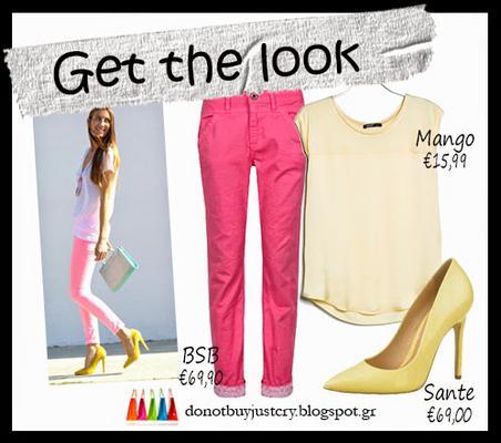 Με ροζ κουφετί  Το πιο πιθανό, είναι να έχεις ένα ροζ κουφετί παντελόνι από τα πέρσι , το οποίο και φυσικά θα το φορέσεις και φέτο και ένα ζευγάρι λεμονί μυτερές γόβες είναι το κλειδί για να πετύχεις