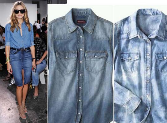 Το τζιν πουκάμισο:  Το τζιν πάνω στο τζιν αποτελεί καυτή τάση και η Ολίβια ξέρει να την τιμά. Για το λόγο αυτό συνδύασε το τζιν μπουφάν με τζιν pencil φούστα.   Ελαφρά κουμπωμένο το τζιν πουκάμισο μπο