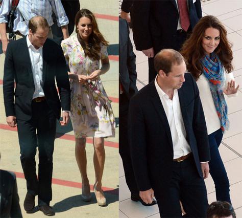 Ο Γουίλιαμ και η Κέιτ όπως μπήκαν (αριστερά) και όπως βγήκαν από το αεροδρόμιο. Αν είχε φορέσει από την αρχή το παντελονάκι της η δούκισσα δεν θα είχε συμβεί τίποτα...