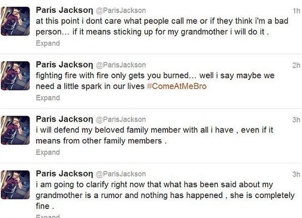 Τα χτυπήματα της Πάρις στο Twitter της έσβησαν λίγο μετά τη δημοσίευσή τους. Μήπως μετάνιωσε η 14χρονη νεαρά; Ποιος ξέρει;