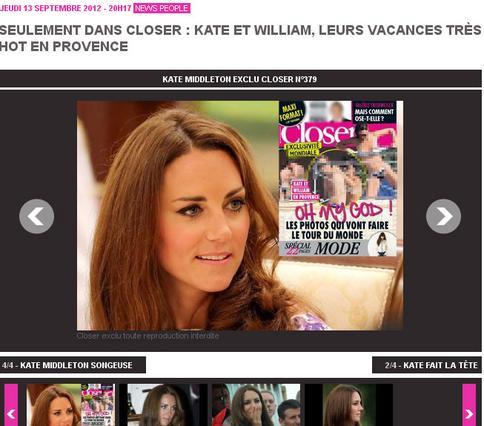 Η ιστοσελίδα της γαλλικής έκδοσης του περιοδικού Closer διαφημίζει το  καλό . Η δούκισσα του Κέιμπτιτζ τόπλες... Αυτό και αν είναι είδηση...