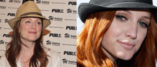Η Άσλι Σίμσον και η Τζούλιαν Μουρ ξέρουν ότι το καπέλο τους είναι απαραίτητο αν θέλουν να  διατηρήσουν το κόκκινο χρώμα τους!