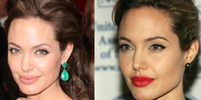 Η Αντζελίνα ξέρει ότι το σχεδόν φυσικό στα χείλη της τα κάνει  να φαίνονται ακόμη πιο ζουμερά ενώ  το κόκκινο κραγιόν οριοθετεί την επιφάνεια τους!
