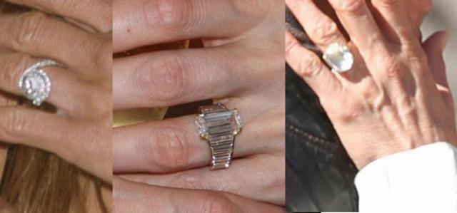 Κρας Τεστ μονόπετρων. Από αριστερά: το δαχτυλίδι που έδωσε ο Μπραντ στην Τζένιφερ, το δαχτυλίδι που έδωσε ο ίδιος στην Αντζελίνα και τέλος, εκείνο που πρόσφερε ο Θερού στην Άνιστον. (κάνε κλικ να δεις
