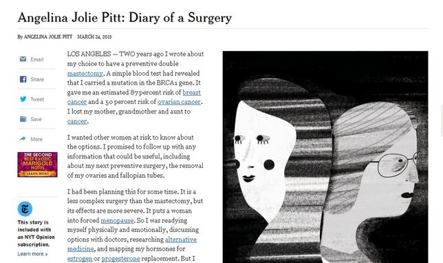 "<p>Στην επιστολή/άρθρο που δημοσιεύτεται σήμερα στους New York Times με τίτλο <strong>""Το ημερολόγιο μιας χειρουργικές επέμβασης"", </strong>η Αντζελίνα Τζολί-Πιτ εξηγεί ότι η<strong> κ"