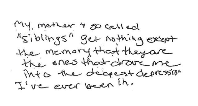 Αυτό είναι ένα κομμάτι από το τριπλό σημείωμα που άφησε η Νάνσι Μόουτς πριν αυτοκτονήσει, όπως δημοσιεύεται σήμερα από τη MailOnline, και στην ουσία κατηγορεί τη μαμά της, τη Ρόμπερτς και τα υπόλοιπα