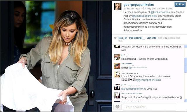 Ο ειδικός στις βαφές και ελληνικής καταγωγής Τζορτζ Παπανικόλας, καμαρώνει για το  δημιούργημά  του με φωτογραφία που ανέβασε στο Instagram. Και τα συγχαρητήρια πέφτουν βροχή...