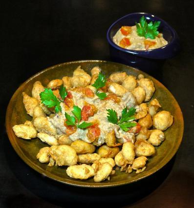 Γίγαντες τηγανητοί & σκορδαλιά με ντομάτα αλά Pandespani