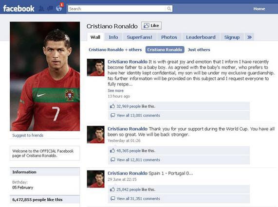 Τα νέα ανακοίνωσε ο ίδιος  ο Ρονάλντο στον λογαριασμό του  στο Facebook.