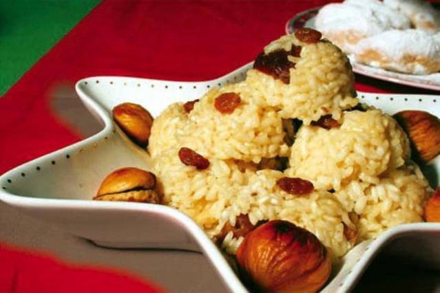 Γιορτινό ριζότο με κάστανα και σταφίδες