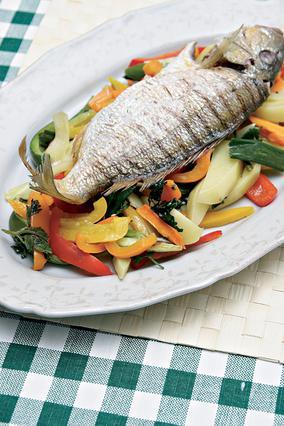 Λυθρίνι με ψητά λαχανικά