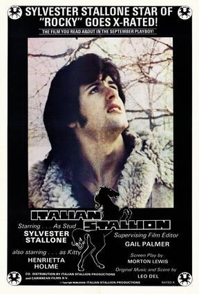 Η αφίσα που διαφημίζει την  ταινία  Ο Ιταλός επιβήτορας  με πρωταγωνιστή -φυσικά- τον Συλβέστερ Σταλόνε.