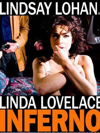 Η Λίντσεϊ Λόχαν ποζάρει ως  Λίντα Λόβλεϊς στην αφίσα  της ταινίας  Inferno .