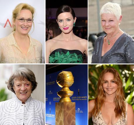 Η Τζένιφερ Λόρενς (κάτω δεξιά) με τις υπόλοιπες συνυποψήφιές της για τον πρώτο γυναικείο ρόλο στις φετινές Χρυσές Σφαίρες: Μέριλ Στριπ, Εμιλι Μπλαντ, ντέιμ Τζούντι Ντεντς και ντέιμ Μάγκι Σμιθ.