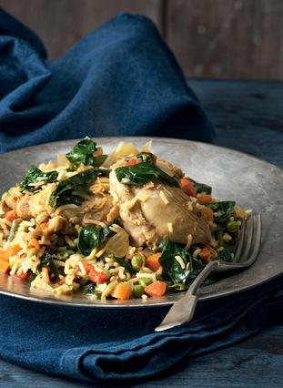 Κοτόπουλο με ρύζι, κάρι και λαχανικά