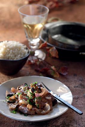 Ψαρονέφρι κρασάτο με μανιτάρια