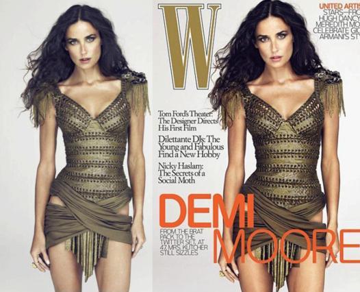 Αριστερά είναι η φωτογραφία χωρίς  ρετούς, που ανέβασε η Ντέμι Μουρ  στο twitter και δεξιά το εξώφυλλο του περιοδικού  W .