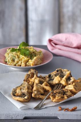 Μανιτάρια τηγανητά με σκορδάτη μαγιονέζα και ρεβίθια