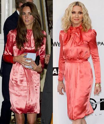 Ίδιο γούστο: Η Κέιτ φόρεσε φέτος το εντυπωσιακό φόρεμα της Στέλα ΜακΚάρτνεϊ που είχε φορέσει σε μια εκδήλωση πριν από τρία χρόνια η Μαντόνα.