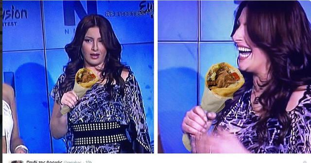 Πανικός με τα... πιτόγυρα της Παπαρίζου στη Γιουροβίζιον
