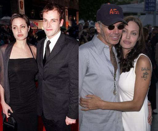 Η Αντζελίνα έχει δύο γάμους στο ενεργητικό της. Με τον Τζόνι Λι Μίλερ παντρεύτηκαν το 1996 και χώρισαν τρία χρόνια αργότερα. Τρία χρόνια κράτησε και ο γάμος της με τον Μπίλι Μπομπ Θόρντον, ο οποίος έλ