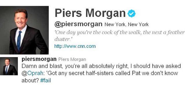 Δεν μπορεί να το χωνέψει ο Πιρς Μόργκαν αυτό που του έλαχε.  Είχε την Όπρα στην εκπομπή του και δύο μέρες αργότερα η ίδια  έκανε την αποκάλυψη του αιώνα!