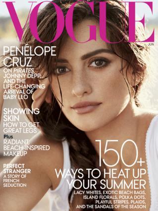Η Πενέλοπε ποζάρει για το εξώφυλλο της αμερικάνιης  Vogue , στο τεύχος  Ιουνίου που κυκλοφορεί στις ΗΠΑ στις  24 Μαΐου.