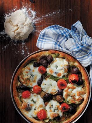 Πίτσα λαχανικών με ζύμη από ρεβιθάλευρο