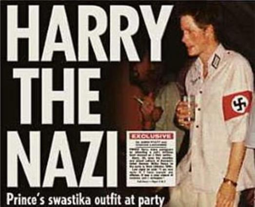 Ο πρίγκιπας Χάρι ντυμένος ναζί,  στο εξώφυλλο της εφημερίδας  Sun .