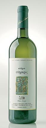 Κτήμα Εύχαρις λευκό: Ο εκρηκτικός συνδυασμός Ασύρτικου και Chardonnay χαρίζει ελκυστικό πρασινοκίτρινο χρώμα, έντονα φρουτώδες άρωμα, στρογγυλό και ισορροπημένο στόμα με μακρά επίγευση. Συνοδεύει καλύ