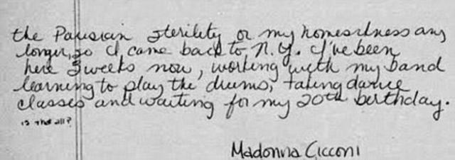 Το τέλος της χειρόγραφης επιστολής που έγραψε το 1979 η Μαντόνα ζητώντας δουλειά. Υπογράφει ως Μαντόνα Τσικόνι.