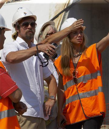 Ο Μπραντ Πιτ κατά τη διάρκεια  της επίσκεψης του στην Ισπανία.