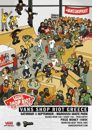 VANS SHOP RIOT GREECE 2016 Σάββατο 3 Σεπτεμβρίου - Μαρούσι Skate Park