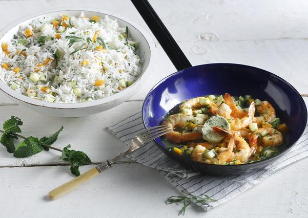 Γαρίδες σοτέ με ρύζι μπασμάτι και αρωματικό βούτυρο από τον Ηλία Μαμαλάκη