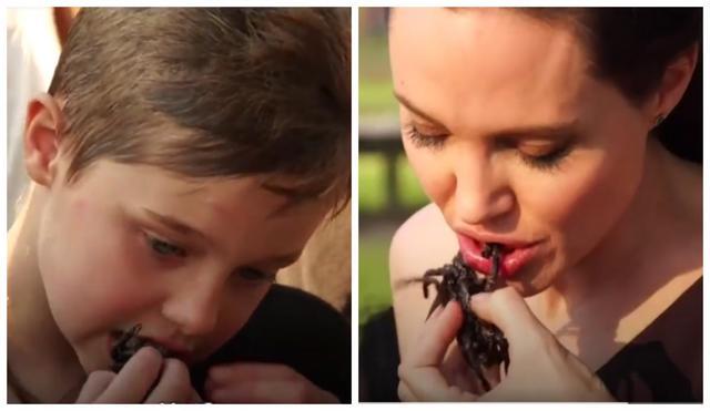 Δείτε την Αντζελίνα Τζολί μαζί με τα παιδιά της να τρώνε σκορπιούς και ταραντούλες [video]