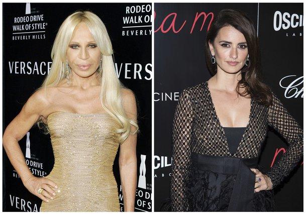 <p>Donatella Versace, Penelope Cruz (AP Photos/Mark J. Terrill, left, and Charles Sykes, Files)</p>