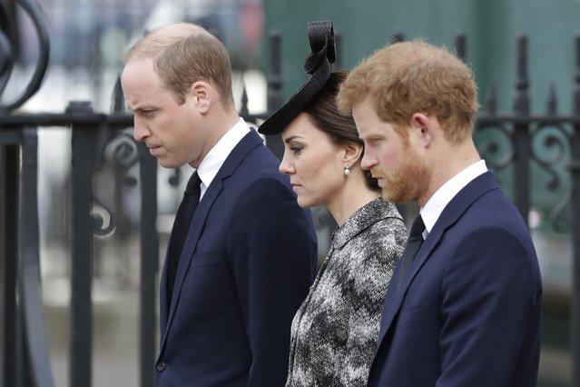 <p>Prince William, Kate the Duchess of Cambridge and Prince Harry (AP Photo/Matt Dunham)</p>