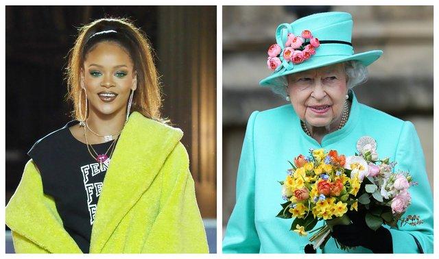<p>Rihanna & Queen Elizabeth (AP Photo/Jonathan Brady/Thibault Camus)</p>