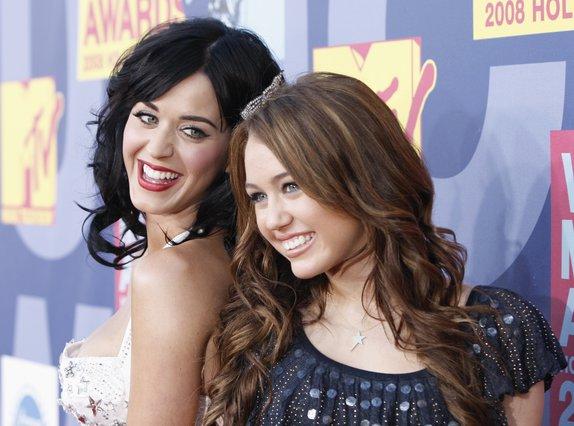 <p>Katy Perry and Miley Cyrus (AP Photo/Matt Sayles)</p>