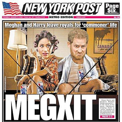 <p>Ένα από τα εξώφυλλα με τα οποία ο Τύπος υποδέχτηκε την είδηση για την απόφαση του royal ζεύγους να μην είναι royals πια.</p>